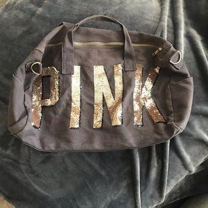 Victoria Secret PINK sequin gray duffle bag